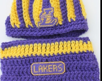 "Lakers Los Angeles inspired Beanie and Diaper Cover SET Newborn 14"" size Crochet with logo NOT made with felt"