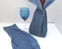 WINE BOTTLE BAGS Set of 2 Denim Recycled Men's Dress Shirt Sleeve Liquor Gift Bag Manly Country Wedding Groomsmen