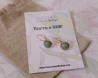 You're a Gem - Aventurine Silver or rose gold Drop  Gemstone Earrings