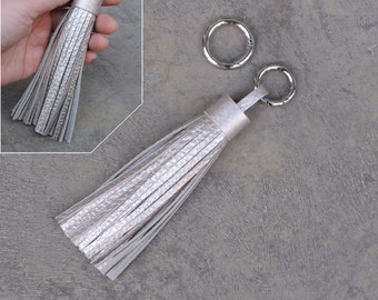 LARGE Type -Champagne Gold Unique and Chic Leather TASSEL Key Chain or Bag Charm-(Pls choose Key Ring Clip & Color)