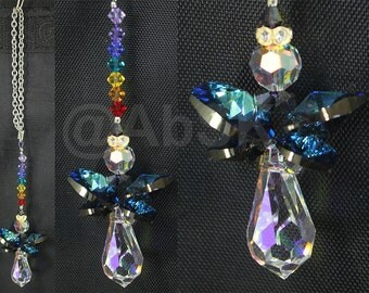Swarovski BERMUDA BLUE Guadian Angel Car Charm Crystal Suncatcher (DS72)