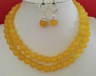 jade necklace, jade long necklace, yellow jade, 10mm jade necklace & earring set