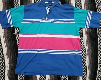 Vintage 1980's Preppy Hipster Par Four Striped Polo Golf Shirt, Size L
