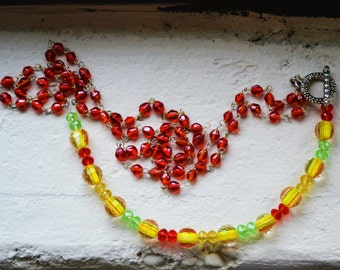 Lemon Lime Necklace with Pomegranite Seeds