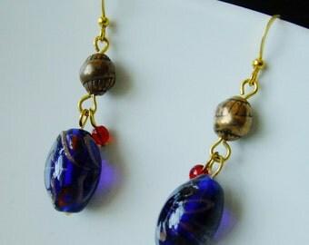 Earrings - Cobalt Blue Flamework Beads gold - sale clearance