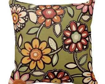 Green Outdoor Pillows,Floral OUTDOOR Pillows, Throw Pillow,Green Patio Pillows, Outside Pillows,Pillow Covers