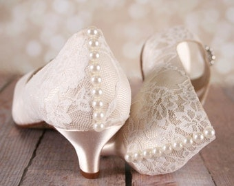 Lace Wedding Shoes, Ivory Wedding Shoes, Wedding Shoes, Ivory Lace Wedding, Kitten Heels, Peep Toes, Ivory Lace Shoes, Wedding Accessories