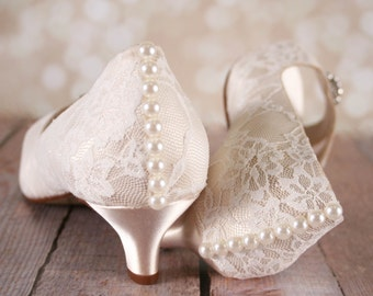 Lace Wedding Shoes Ivory Kitten