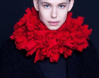 ruffle scarf,chunky scarf,  jersey scarf, red scarf, oversize scarf, necklace scarf, pink scarf, grey scarf, black scarf