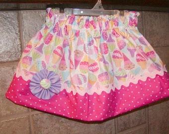 Girls skirt, Infant skirt, toddler skirt, Custom..Ice Cream Cones..sizes 0-6 mon, 6-12, 12-18, 1/2, 3/4, 5/6, 7/8, 9/10 Bigger Sizes