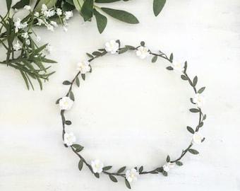 Off white flower chase garland head dress headband with leaf detail - flower girl - wedding - boho
