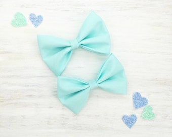 """Pastel mint green with 3"""" hair bows -  set of two - kawaii"""