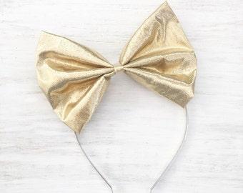 Gold lamé bow headband - Kawaii - Pin up