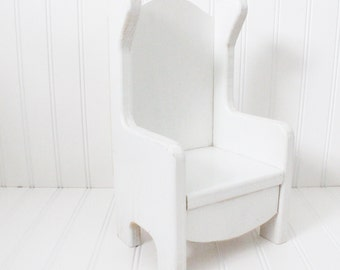 Large vintage doll chair, wooden doll chair, white doll chair, vintage doll furniture, wingaback chair