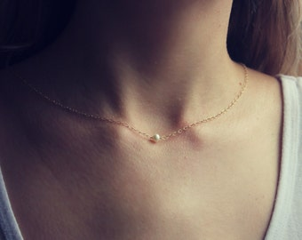 Freshwater potato pearl on a 14k gold fill chain, simple gold necklace, pearl necklace