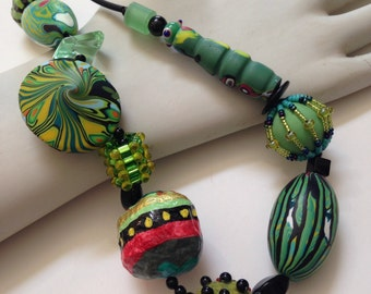 Funky necklace in greens!