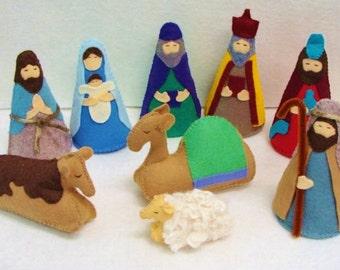 Nativity Scene, Handmade Wool Felt, 9 Piece Set