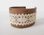 brown leather lace cuff, boho leather cuff bracelet, southwestern bracelet, vintage style cuff, lace stud bracelet, gift for her