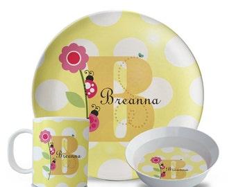 Personalized 3 Piece Plate Set, Children's Ladybug Plate, Personalized Plate, Bowl, Mug Set, Polka Dot Ladybug Birthday Party Melamine Plate