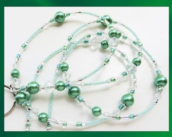 MINT GREEN- Handcrafted Beaded ID Lanyard- Mint Glass Pearls with Crystal Beads (Necklace Clasp)