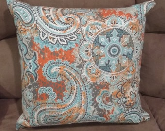 IMAGINATION Throw Pillow 18x18 inches Aqua Teal Turquoise Orange Paisley Filigree Home Decor Decorative Pillow Cover Bananabunch Kimberly