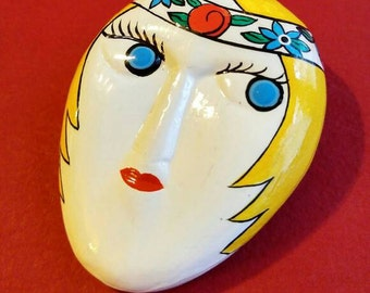 Vintage Flapper Girl Brooch Lacquer wood pin blond woman face with blue eyes art deco