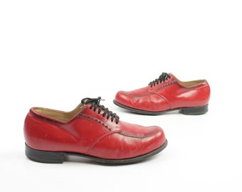 Vintage 70s Red Leather Shoes Oxford Lace Up Wingtips Men's Size 8 1960s 1970s