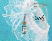 Happily Ever After Garter and Charm Fairy Tale Wedding Disney Inspired Bride, Bottle Necklace, Bridial Gift, Something Blue Teal