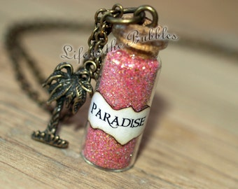 Paradise Necklace with a Palm Tree Charm, Endless Summer, Bottle Necklace, Finding Paradise, Beach Necklace, Give the Gift of Paradise