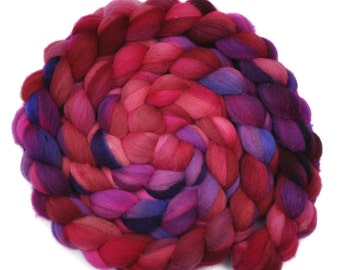 Hand dyed spinning fiber - Fine Domestic wool roving  - 4.3 ounces - Secret Crush