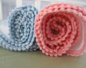 Swaddle Blanket Infant Handmade Poly Knit Embossed Hearts  Lightweight Gauze  Pink Blue White