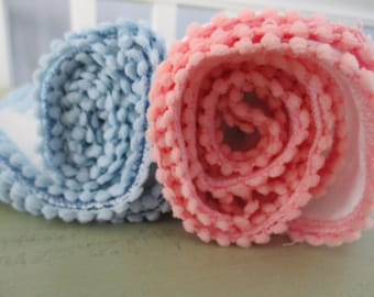 Swaddle Blanket Infant Handmade Poly Knit clearance Embossed Hearts  Lightweight Gauze Pom Pom Trim  Pink Blue White