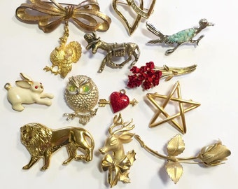 Vintage Mixed Lot of Figural Jewelry