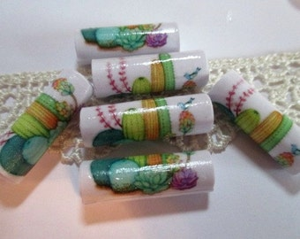 Paper Bead Cactus Flowers - 12 Paper Beads