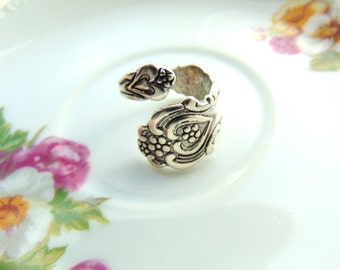 Spoon Ring Heart Floral Rose Wrap Ring Antique Silver Retro Ring Handcrafted by TheTown Tinker
