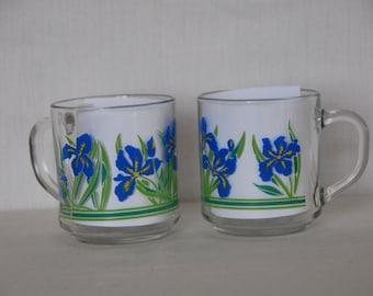 1984 Carlton Luminarc Blue Iris Mugs