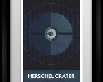 Space Travel Poster - Mimas - Herschel Crater