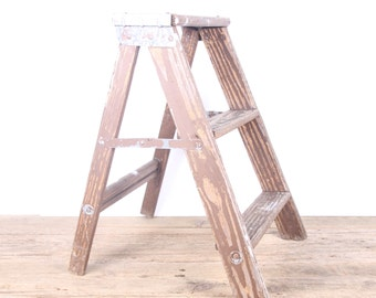 Vintage Wood Step Stool / Folding Step Ladder Rustic Stool / Wooden Step Ladder Kitchen Step Stool / Farmhouse Step Stool Rustic Plant Stand