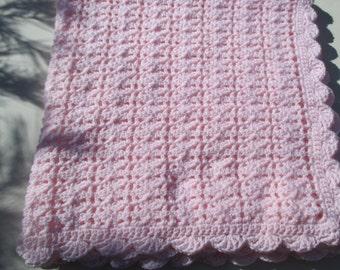 Crochet Baby Blanket - Pale Pink - Crochet Keepsake - 33 x 36 Infant Afghan