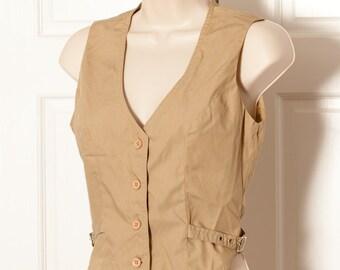 Vintage 80s 90s Womens Khaki Button Vest - CHAUS - 7/8