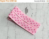 ON SALE Baby Hair Clips - Pink Polka Dot - Simple Alligator Hair Clip Set - Baby, Girl, Toddler, Children