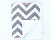 Infant Baby Car Seat Lap Blanket, Light Gray and White Chevron with White Square Minky