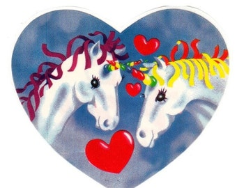 ON SALE Very Rare Vintage Lisa Frank Large Unicorn Heart Sticker - 3 inch 80's Fantasy Unicorns in Love