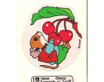 ON SALE Rare Vintage Trend Scratch and Sniff Cherry and Mouse Sticker - 80's Scented