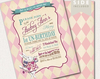 Alice in Wonderland Invitation, Printable Alice in Wonderland Invitations,Birthday, Mad Hatter Tea Party // PRINTED or PRINTABLE INVITATIONS