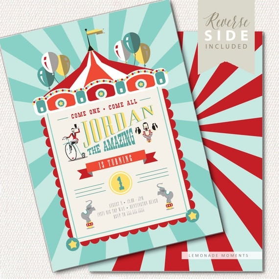 Circus Invitation Circus Theme Invitation Big Top 1st Birthday