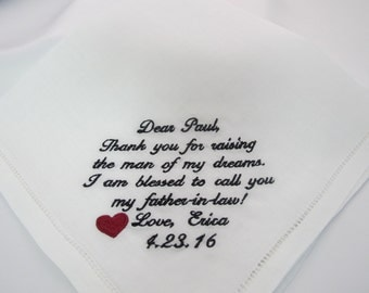 Embroidered Wedding Handkerchiefs for the Father of the Bride.  100% Linen.