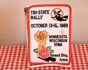 vintage iron on patch - 'HARVEST' forest city iowa, tri-state rally