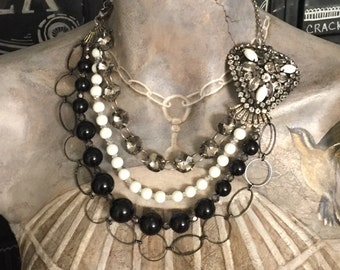 Vintage Inspired Victorian Necklace Brooch Assemblage Necklace in Black White and Gunmetal