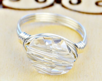Sterling Silver Filled Ring - Wire Wrapped with Clear Swarovski Crystal - Any Size- Size 4, 5, 6, 7, 8, 9, 10, 11, 12, 13, 14
